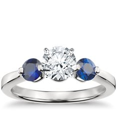 Floating Sapphire Engagement Ring in 14k White Gold